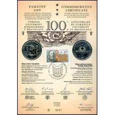 Numizmatický pamätný list: 100. výročie Univerzity Komenského