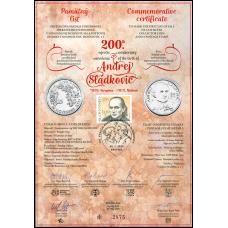 Numizmatický pamätný list: Osobnosti: Andrej Sládkovič (1820 – 1872)