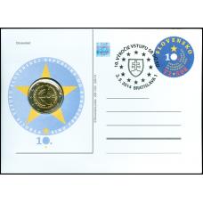 Numizmatický poštový lístok Vstup SR do EÚ - 10. výročie