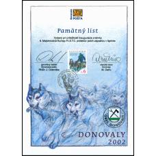 Pamätný list č. 3 - ME v šprinte psích záprahov Donovaly 2002 / PaL