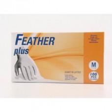 FEATHER plus 100ks. latexové rukavice s púdrom, veľkosť M